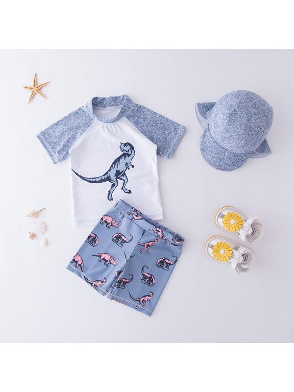 【18M-9Y】Boys Hat Color Stitching Dinosaur Print Split Swimsuit