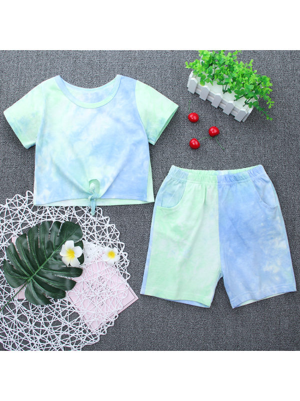 【18M-7Y】Girls Tie-dye Short-sleeved Two-piece Suit