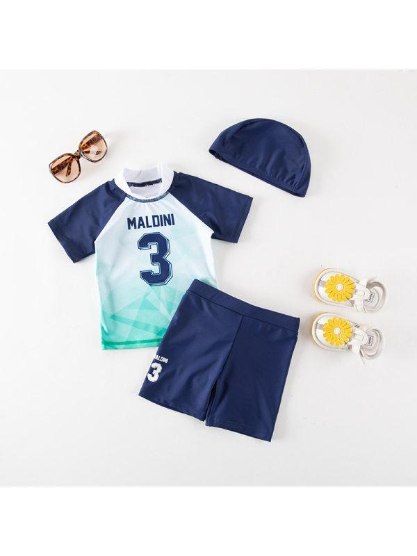【18M-7Y】Boys Color Stitching Print Split Swimsuit