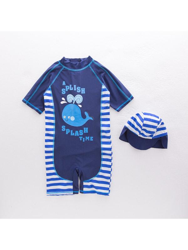 【18M-7Y】Boys Cartoon Whale Print Beach Swimsuit