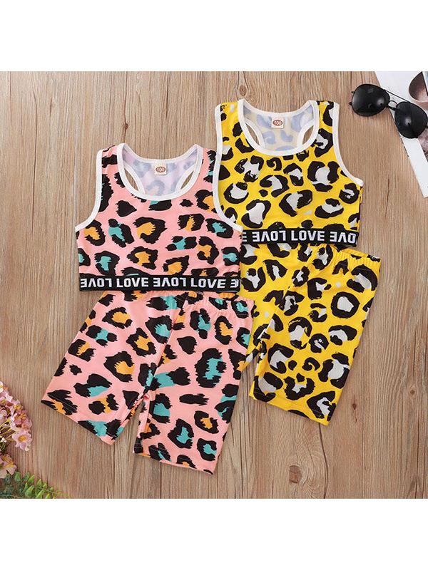 【2Y-9Y】Kids Leopard Print Sleeveless Shorts Set