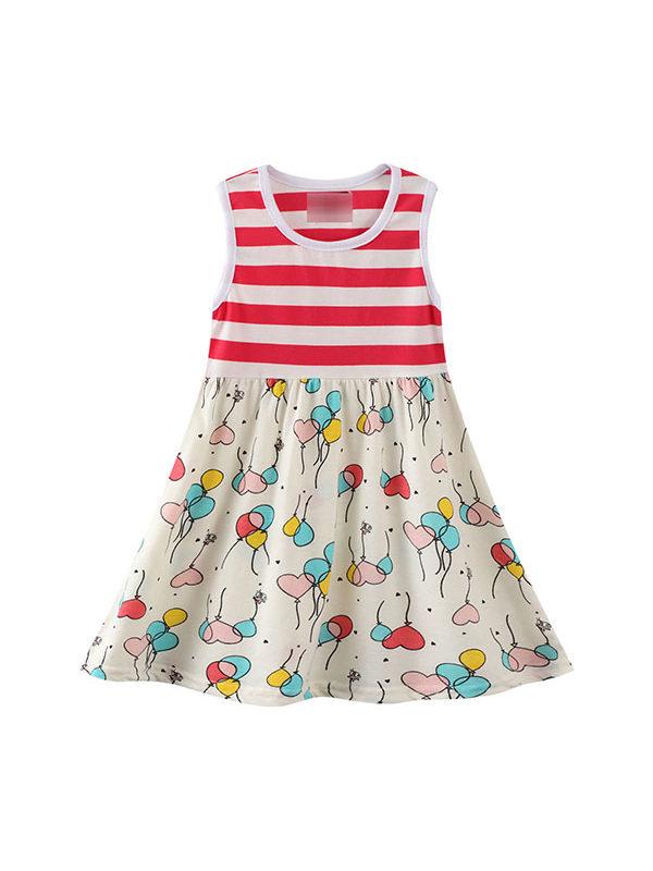 【18M-9Y】Girls' Cotton Cartoon Print Vest Dress