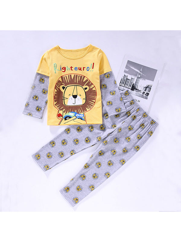 【12M-5Y】Boys Cartoon Animal Print Long-sleeved Top And Trousers Suit