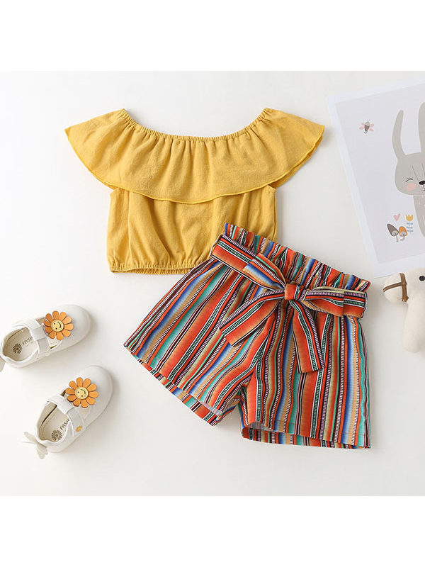 【18M-7Y】Girls Yellow Short-sleeved Striped Shorts Suit - 3464