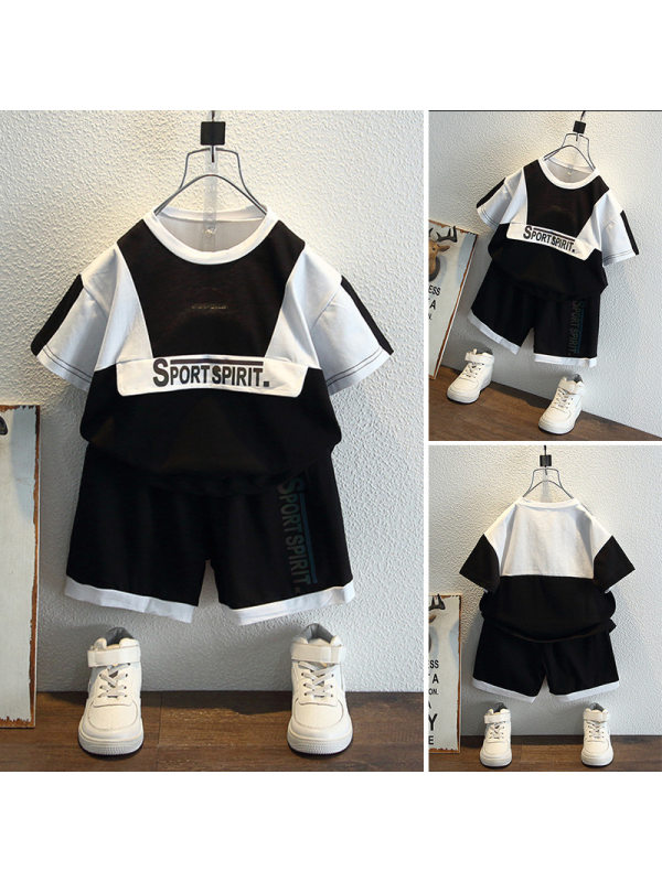 【18M-9Y】Boys Contrast Stitching Short Sleeve Two-piece Suit