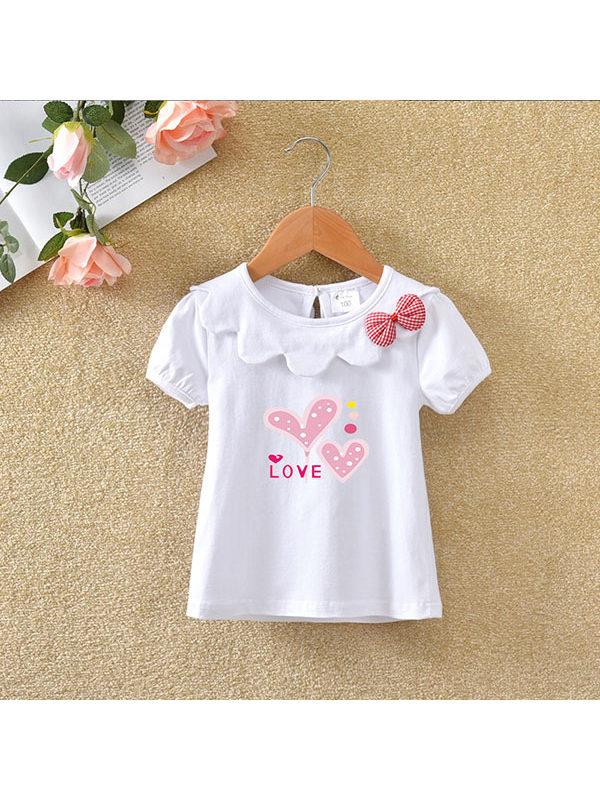 【6M-7Y】Girls Cotton Short-sleeved T-shirt