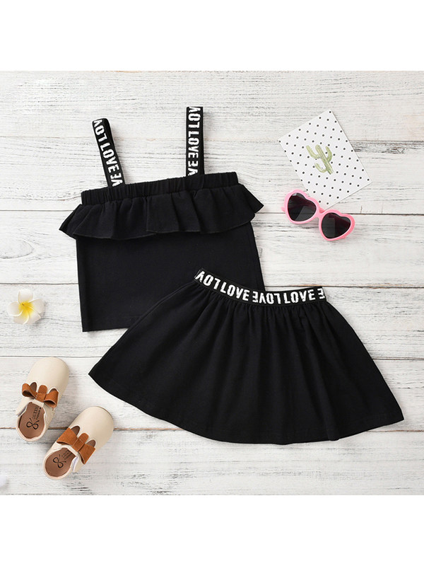 【18M-7Y】Girls Double Dhoulder Sling With Short Dress Two-piece Suit