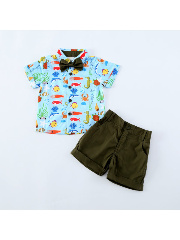 【18M-7Y】Boys Cartoon Print Short-sleeved Shirt Shorts Two-piece Suit