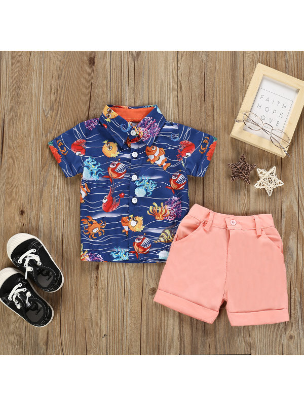 【12M-5Y】Boys Printed Short-sleeved Shirt Shorts Two-piece Suit