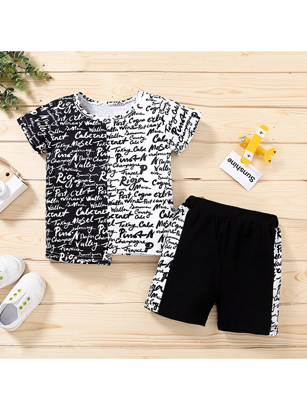 【12M-4Y】Boys Round Neck Short Sleeve Stitching T-shirt with Shorts Suit