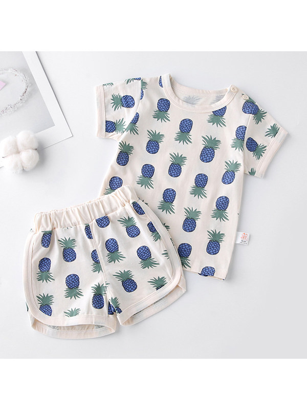 【3M-4Y】Round Neck Short Sleeve Printed T-shirt with Shorts Set - 3473