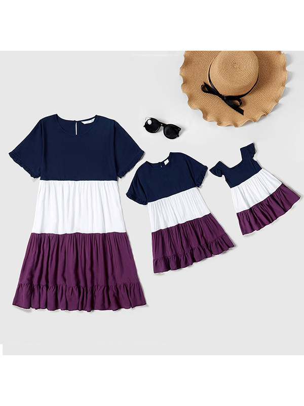 Casual Three-color Stitching Ruffle Mom Girl Matching Dress