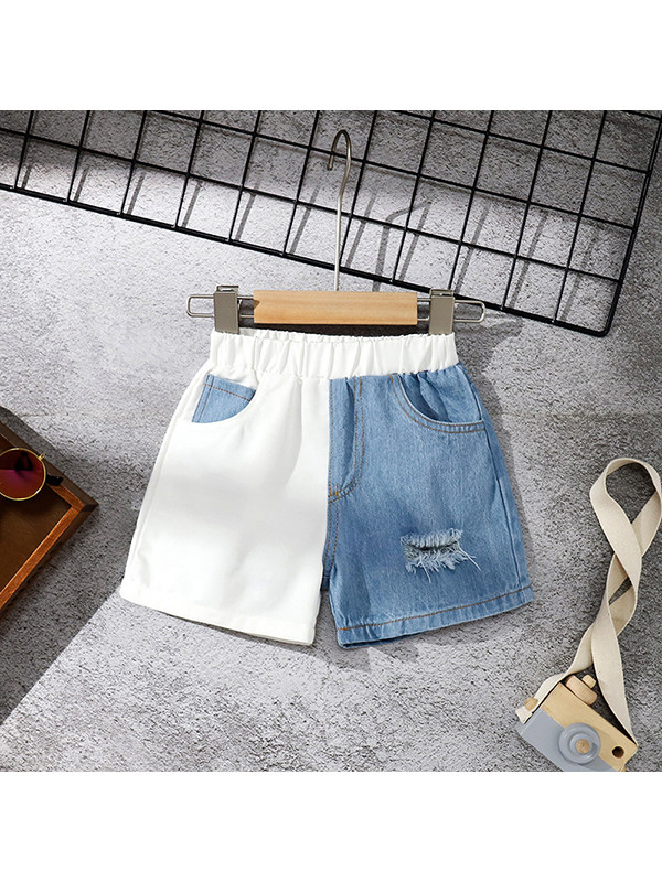 【18M-7Y】Girls White and Blue Mixed Denim Shorts