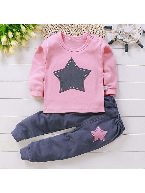 【6M-13Y】Cartoon Printed Cotton Set for Boys and Girls
