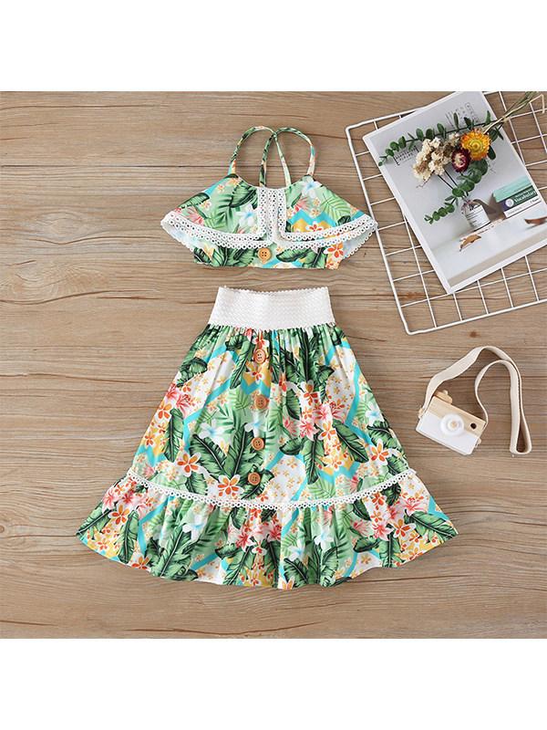 【18M-7Y】Girls Sling Short Blouse Flower Print Green Long Skirt Two-piece Set