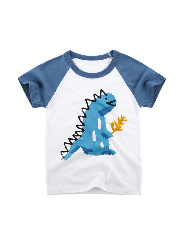 【18M-9Y】Boys Hit Color Stitching Cartoon Print Short Sleeve T-shirt