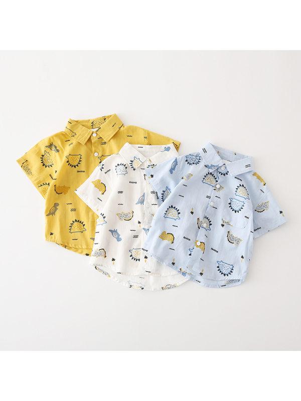 【18M-9Y】Boys Dinosaur Print Short Sleeve Shirt