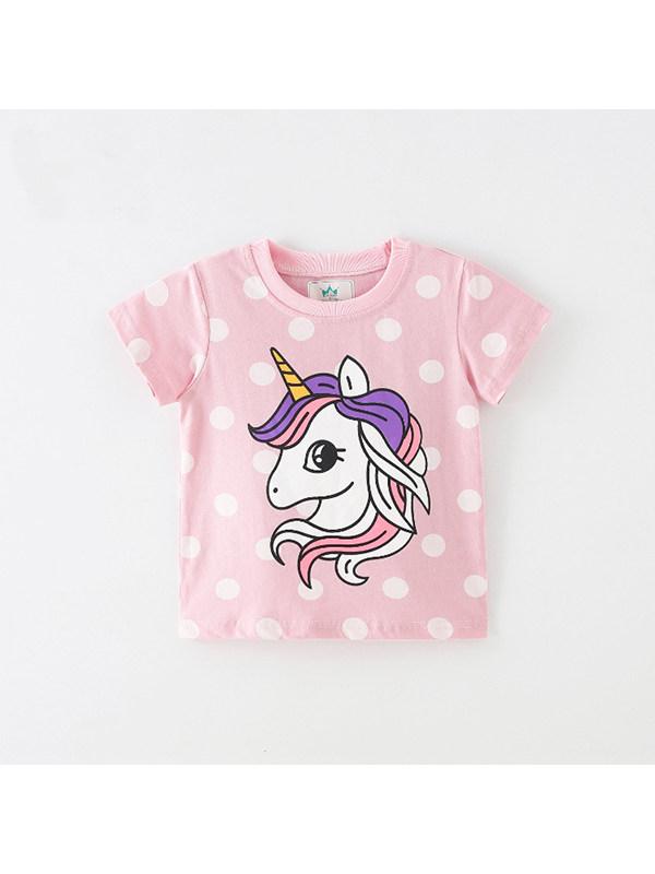 【18M-9Y】Girls Polka Dot Cartoon Print Short Sleeve T-shirt