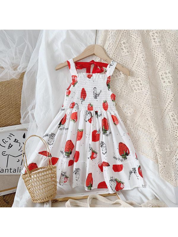 【12M-7Y】Girls Fresh Sweet Strawberry Print Camisole Dress