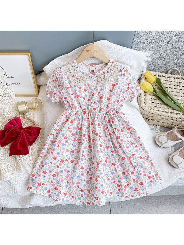 【18M-7Y】Girls Fresh Sweet Lace Collar Floral Puff Sleeve Dress