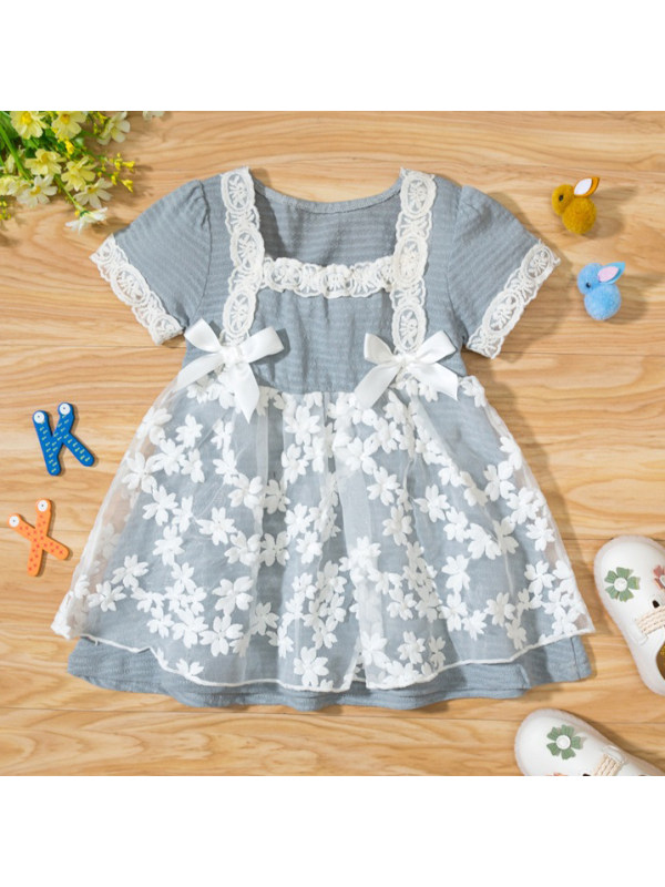 【9M-3Y】Lovely Lace Square Neck Dress