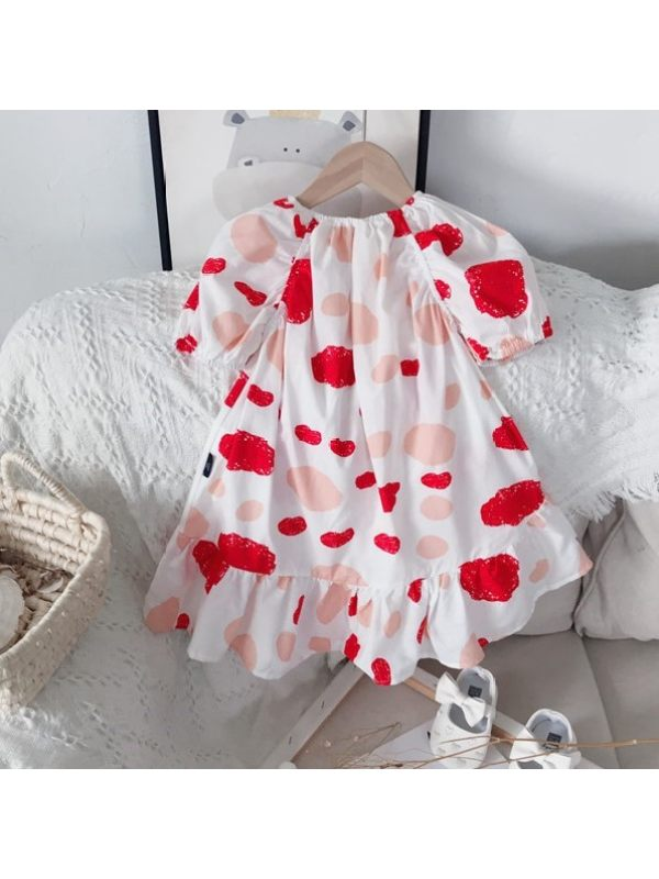 【18M-9Y】Girls Sweet Irregular Polka Dot Printed Puff Sleeve Dress