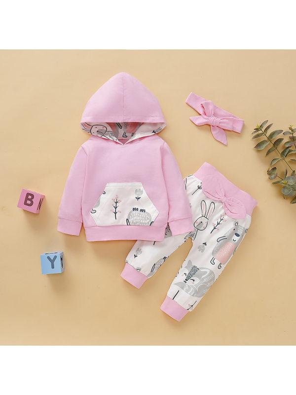 【6M-3Y】Girls Cartoon Print Long-sleeved Hooded Sweatshirt Pants Set