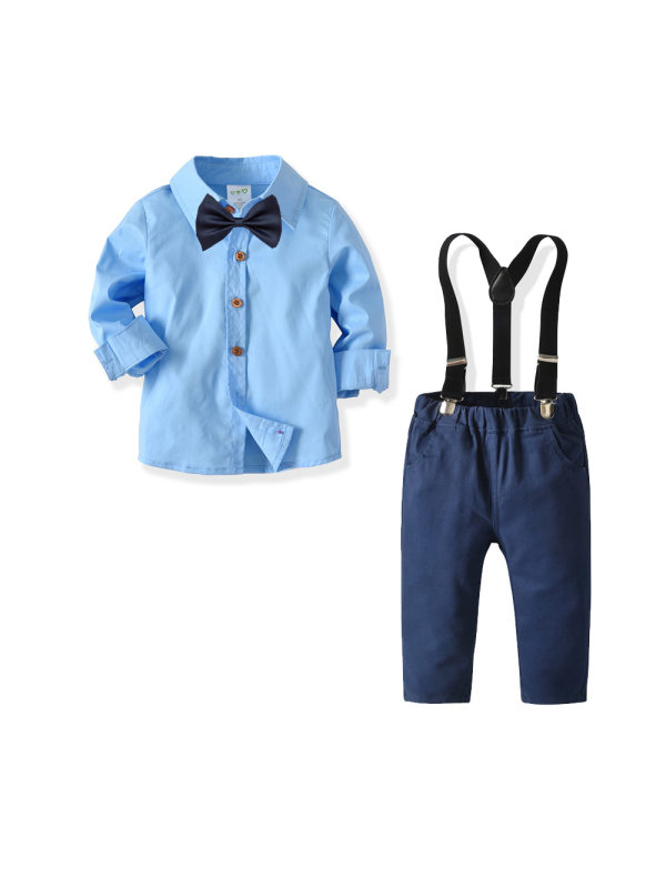 【18M-7Y】Boys Long-sleeved Shirt and Suspenders Trousers Two-piece Suit