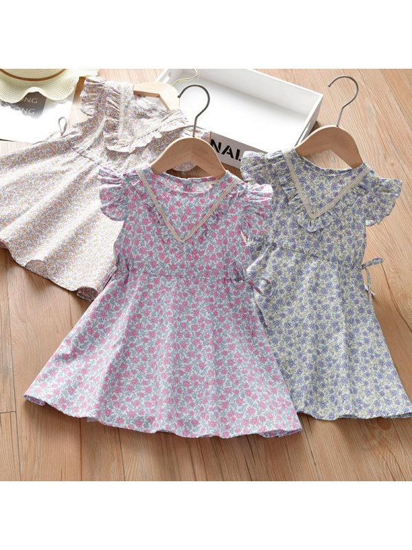 【18M-7Y】Girls Sweet Floral Short Sleeve Dress