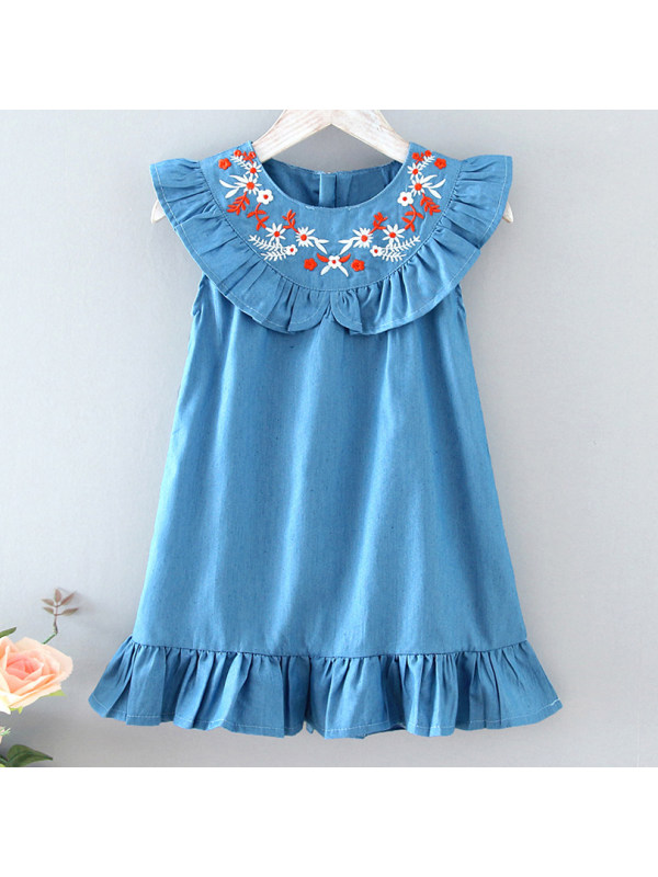 【18M-7Y】Sweet Floral Embroidered Ruffled Blue Dress