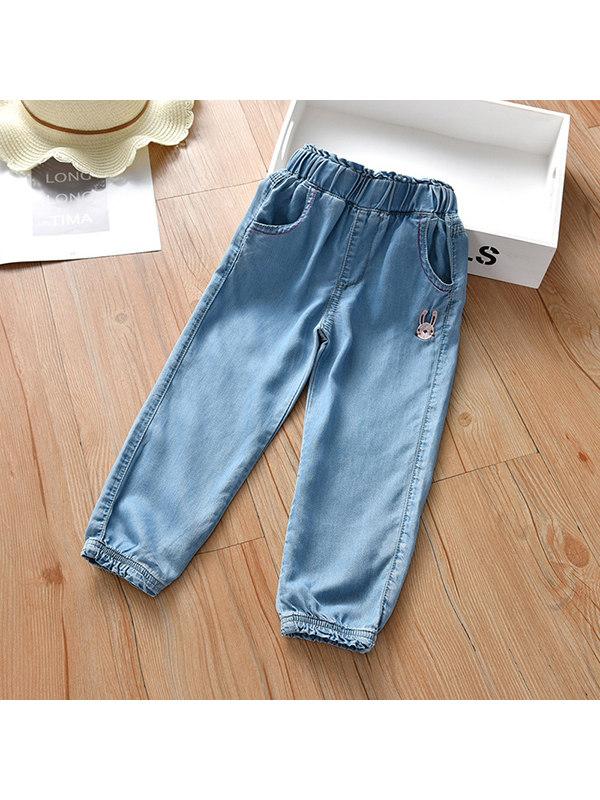 【18M-7Y】Girls' Thin Tencel Denim Trousers