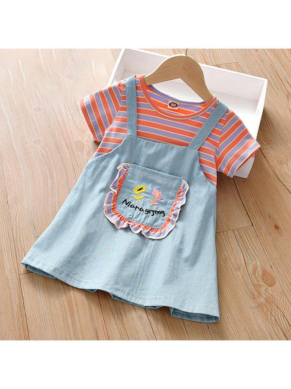 【18M-7Y】Girls Striped Short-sleeved Stitching Denim Dress