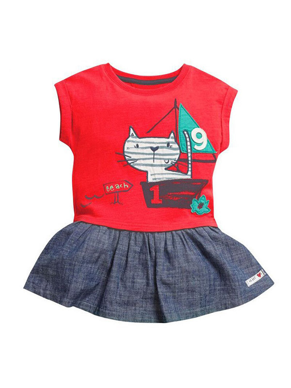 【18M-9Y】Girls Short Sleeve Stitching Dress