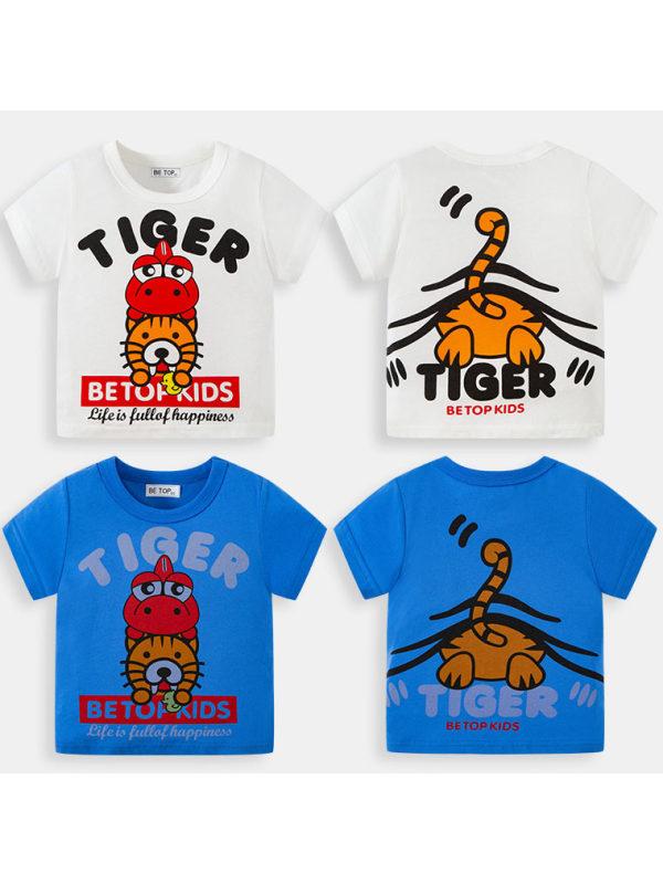 【18M-9Y】Boys Letter Cartoon Print Short Sleeve T-shirt