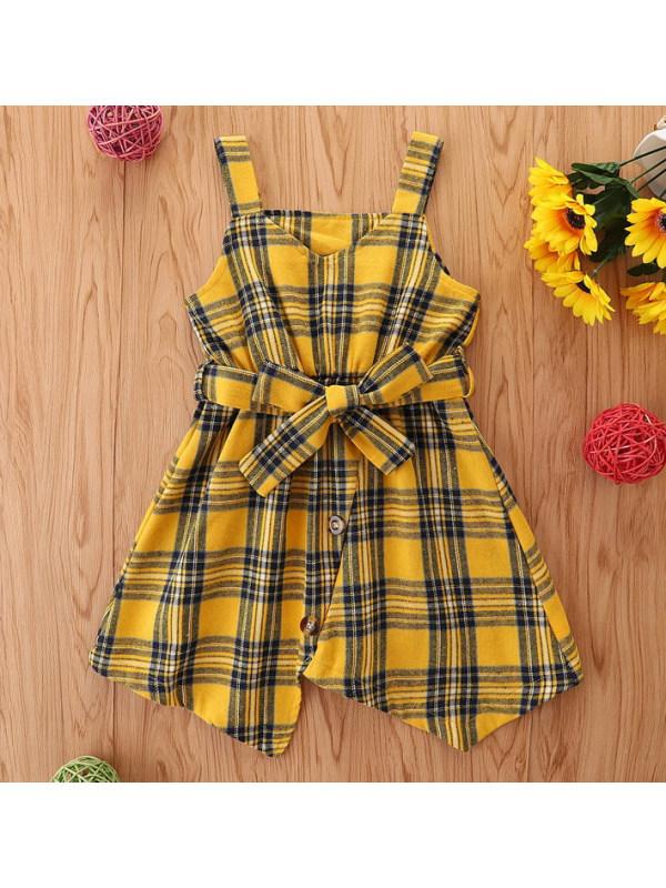 【2Y-9Y】Sweet Yellow Plaid Dress