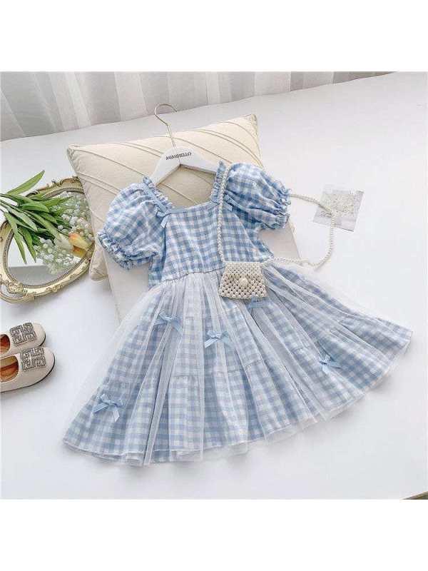 【18M-7Y】Girls Fresh Sweet Plaid Mesh Stitching Puff Sleeve Dress