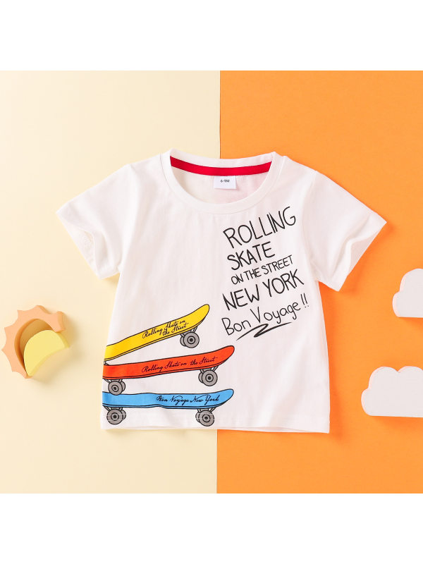 【3M-3Y】Boys Letter Scooter Print Short Sleeve T-shirt