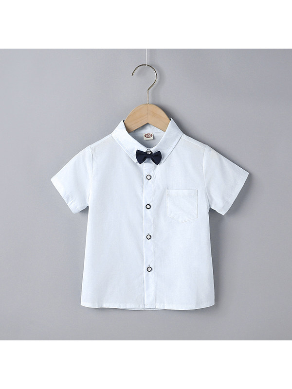 【18M-7Y】Boys Lapel Short-sleeved Bow Tie Single-breasted Shirt