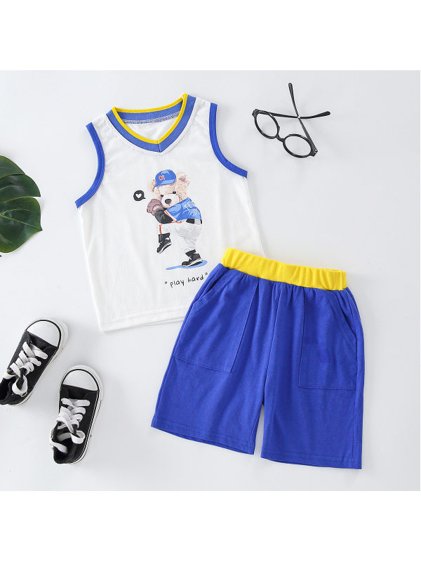 【18M-7Y】Boys Contrast Stitching Color Two-piece Tank Top Shorts Two-piece Suit