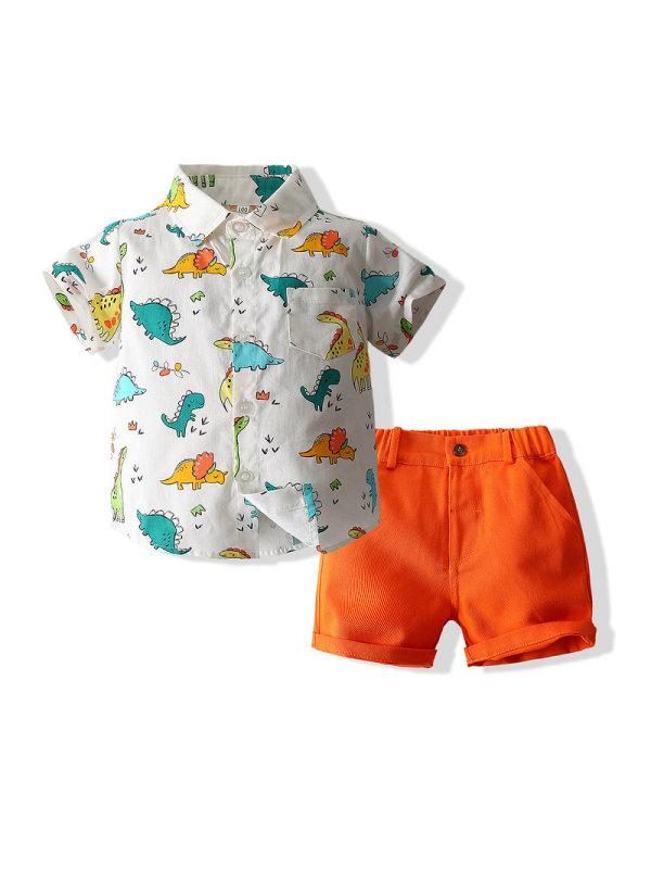 【18M-7Y】 Boys Dinosaur Shirt Shorts Suit