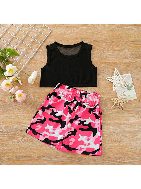 【12M-7Y】Girls Black Pullover Top With Pink Camouflage Shorts Suit