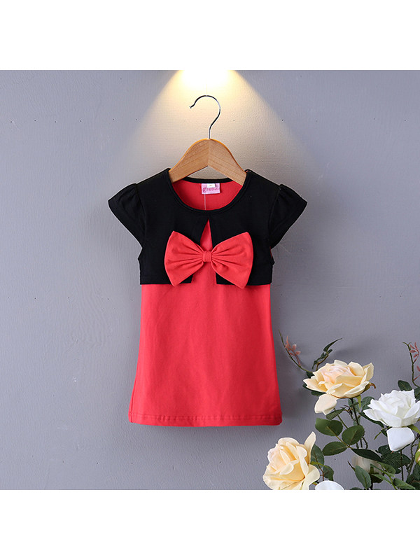【12M-7Y】Girls Round Neck Short-sleeved Fake Two-piece Bow Dress