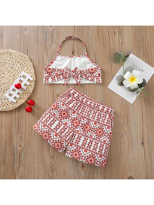 【18M-7Y】Girls Halterneck Lace Top With Shorts Two-piece Suit