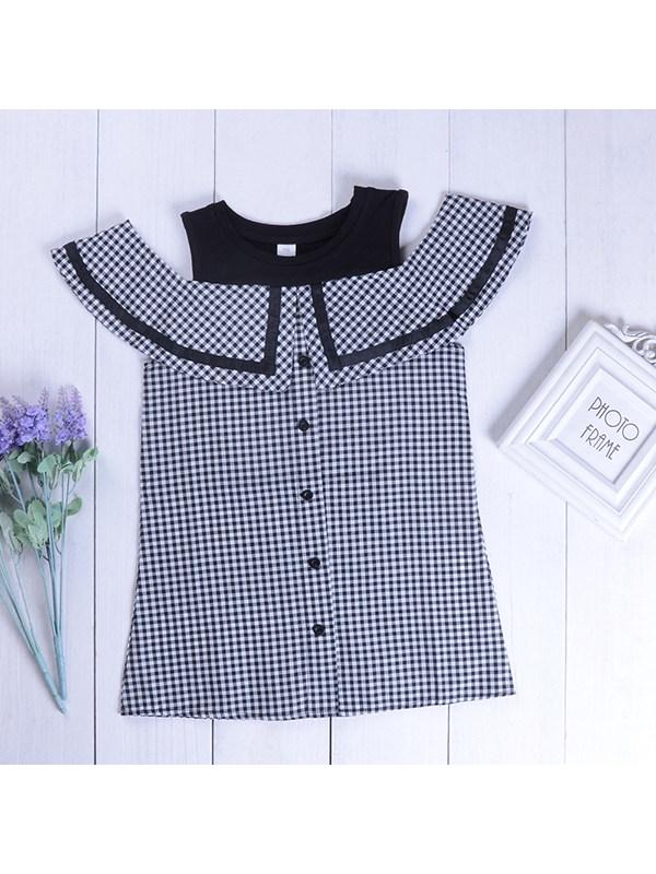 【2Y-13Y】Girls Sleeveless Checkered Lotus Leaf Collar Doll Collar Dress
