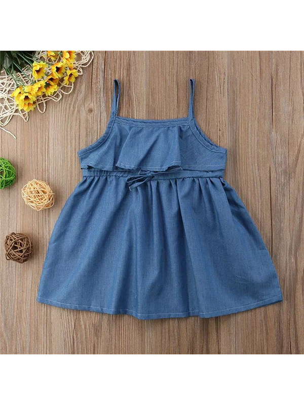【12M-5Y】Girls Suspenders Denim Dress