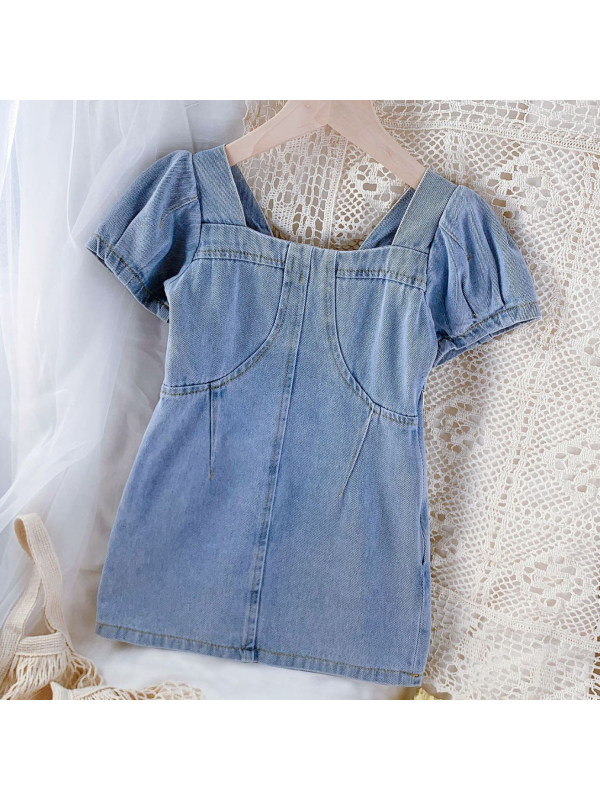 【18M-9Y】Sweet Puff Sleeve Light Blue Denim Dress