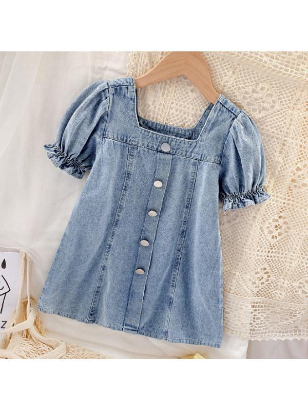 【18M-9Y】Sweet Puff Sleeve Light Blue Denim Dress - 33102