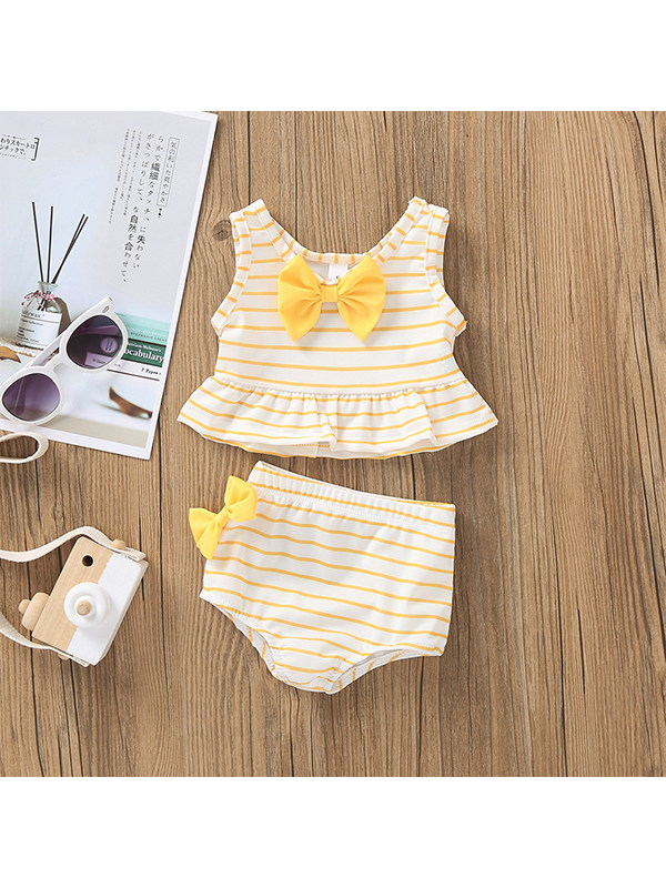 【12M-5Y】Girls Striped Sleeveless Vest Bowknot Top With Triangle Shorts Two-piece Suit
