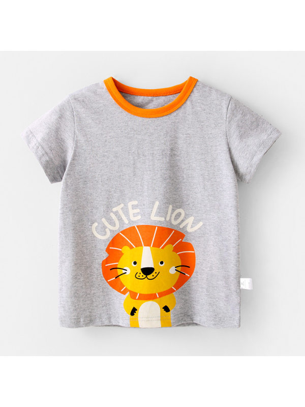 【12M-7Y】Boys Cartoon Animal Print Short Sleeve T-shirt
