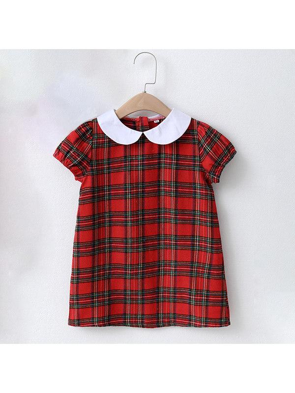 【18M-7Y】Girls Red Plaid Doll Collar Dress